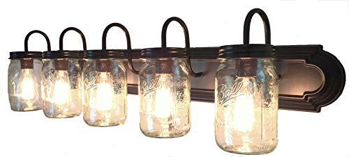 LAMP Goods Mason JAR Bathroom Vanity 5 Light Wide Mouth Jars 0