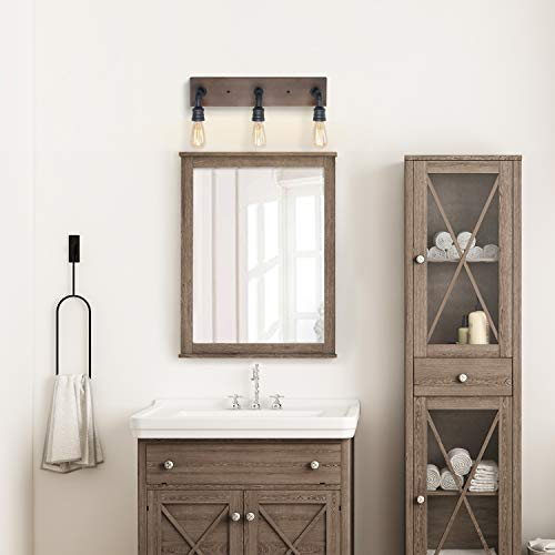 LNC Bathroom Vanity Lights Farmhouse Wood And Water Pipe Wall Sconces3 Heads A03376 0 1