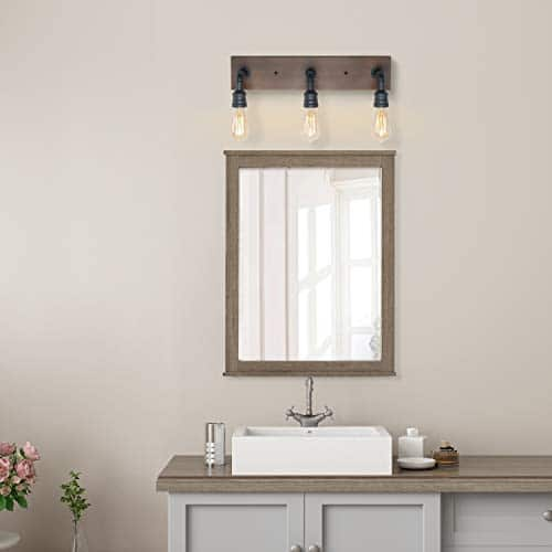 LNC Bathroom Vanity Lights Farmhouse Wood And Water Pipe Wall Sconces3 Heads A03376 0 2