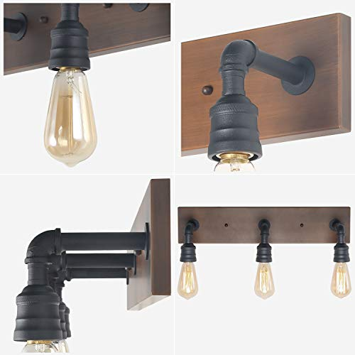 LNC Bathroom Vanity Lights Farmhouse Wood And Water Pipe Wall Sconces3 Heads A03376 0 3