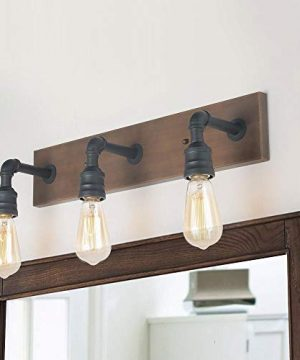 LNC Bathroom Vanity Lights Farmhouse Wood And Water Pipe Wall Sconces3 Heads A03376 0 300x360