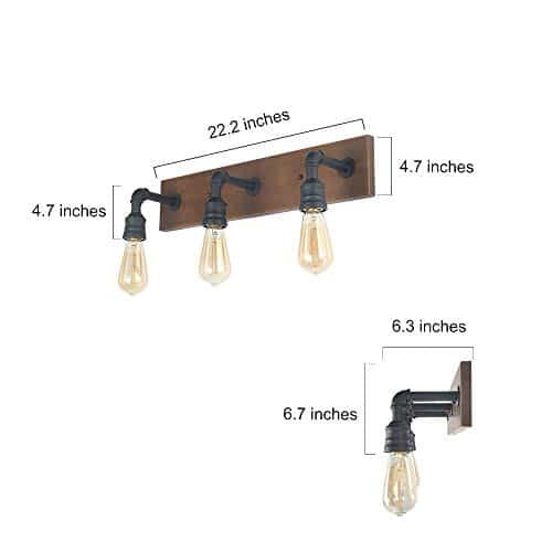 LNC Bathroom Vanity Lights Farmhouse Wood And Water Pipe Wall Sconces3 Heads A03376 0 4