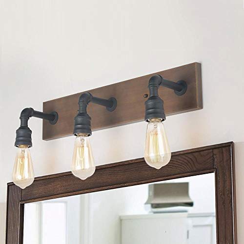 LNC Bathroom Vanity Lights Farmhouse Wood And Water Pipe Wall Sconces3 Heads A03376 0