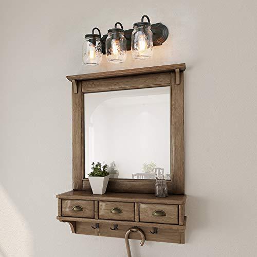 LNC Bathroom Vanity LightsFarmhouse Mason Jar Wall Sconce Over Mirror A02980 Brown 0 0