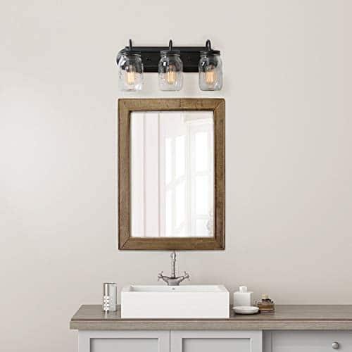 LNC Bathroom Vanity LightsFarmhouse Mason Jar Wall Sconce Over Mirror A02980 Brown 0 2