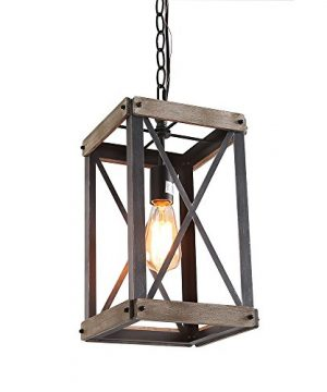LNC Cage Pendant Lights Wood Bond Chandelier For Island Living Room Non Flat Ceiling Applicable A03437 Brown 0 300x360