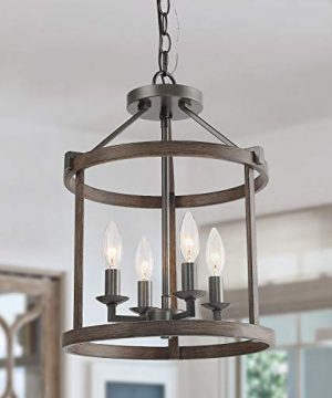 LNC Faux Wood Drum Pendant Lights Heavy Duty 4 Light Pendant Lighting Farmhouse And Height Adjustable Chandelier For Dining Room 0 300x360
