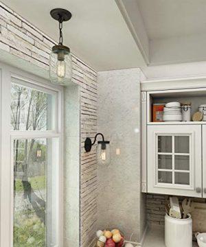 LNC Flush Mount Ceiling Light FixtureFarmhouse Mason Jar Pendant A03220 Single 0 3 300x360
