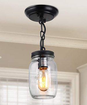 LNC Flush Mount Ceiling Light FixtureFarmhouse Mason Jar Pendant A03220 Single 0 300x360