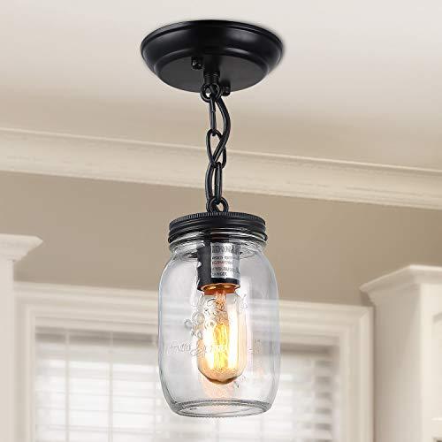 LNC Flush Mount Ceiling Light FixtureFarmhouse Mason Jar Pendant A03220 Single 0