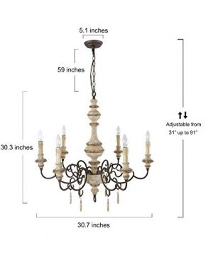 LNC Rustic Chandeliers Handmade Distressed French Country Style Lighting Fixtures For Living Bedroom Dining Room Foyer A03371 0 3 300x360