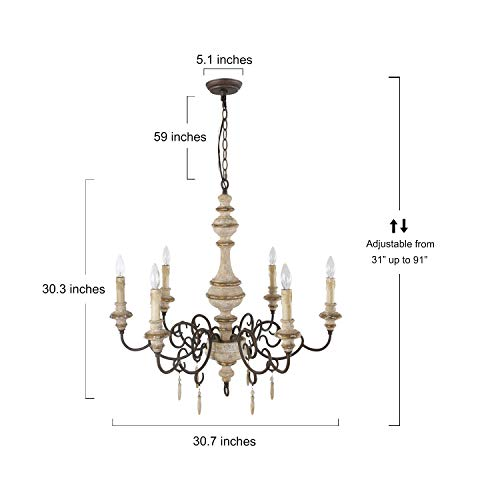 LNC Rustic Chandeliers Handmade Distressed French Country Style Lighting Fixtures For Living Bedroom Dining Room Foyer A03371 0 3