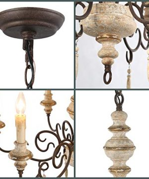 LNC Rustic Chandeliers Handmade Distressed French Country Style Lighting Fixtures For Living Bedroom Dining Room Foyer A03371 0 4 300x360