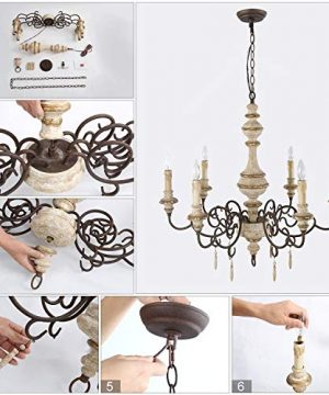 LNC Rustic Chandeliers Handmade Distressed French Country Style Lighting Fixtures For Living Bedroom Dining Room Foyer A03371 0 5 300x360