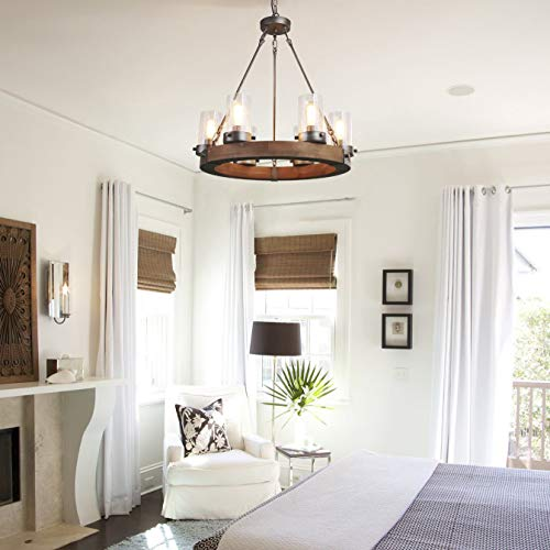 LNC Wood Farmhouse Chandeliers For Dining Rooms Rustic Hanging Ceiling Light Fixture A03348 0 1