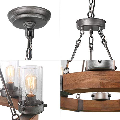 LNC Wood Farmhouse Chandeliers For Dining Rooms Rustic Hanging Ceiling Light Fixture A03348 0 3