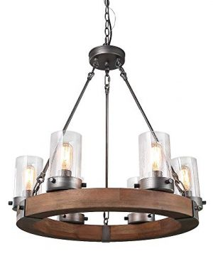 LNC Wood Farmhouse Chandeliers For Dining Rooms Rustic Hanging Ceiling Light Fixture A03348 0 300x360