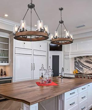 LNC Wood Farmhouse Chandeliers For Dining Rooms Rustic Hanging Ceiling Light Fixture A03348 0 5 300x360