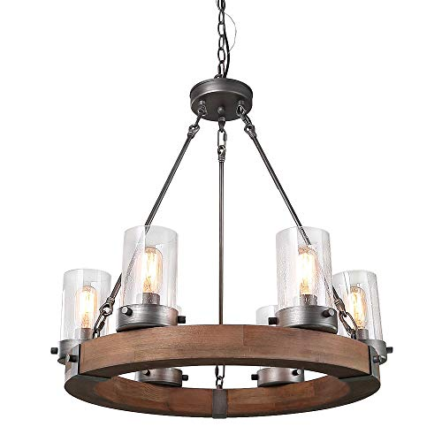 LNC Wood Farmhouse Chandeliers For Dining Rooms Rustic Hanging Ceiling Light Fixture A03348 0