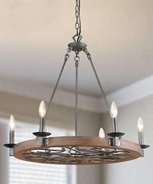 LNC Wood Farmhouse Chandeliers For Dining RoomsSilver Pattern Ceiling Light Fixture A03301 0 300x360