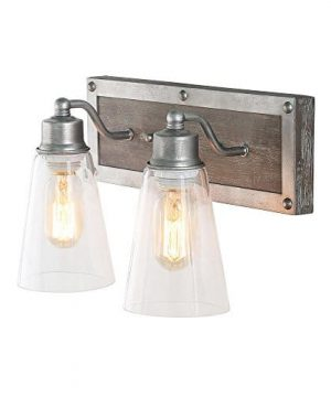 LOG BARN 2 Lights Bathroom Lighting In Real Distressed Wood And Brushed Antique Silver Finish With Cone Clear Glass Shades 141 Vanity Light Fixture A03331 0 300x360