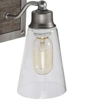 LOG BARN 2 Lights Bathroom Lighting In Real Distressed Wood And Brushed Antique Silver Finish With Cone Clear Glass Shades 141 Vanity Light Fixture A03331 0 5 300x360