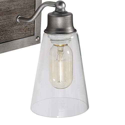 Log Barn 2 Lights Bathroom Lighting In Real Distressed Wood And Brushed Antique Silver Finish With Cone Clear Glass Farmhouse Goals