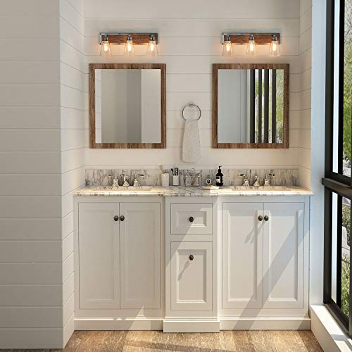 LOG BARN 3 Lights Rustic Vanity Light In Real Distressed Wood And Brushed Antique Silver Finish With Cone Clear Glass Shades 213 Bathroom Wall Sconce Lighting A03330 0 0