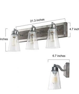 LOG BARN 3 Lights Rustic Vanity Light In Real Distressed Wood And Brushed Antique Silver Finish With Cone Clear Glass Shades 213 Bathroom Wall Sconce Lighting A03330 0 1 300x360