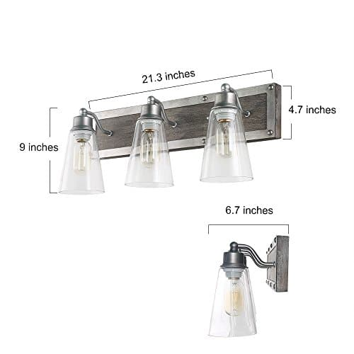 LOG BARN 3 Lights Rustic Vanity Light In Real Distressed Wood And Brushed Antique Silver Finish With Cone Clear Glass Shades 213 Bathroom Wall Sconce Lighting A03330 0 1