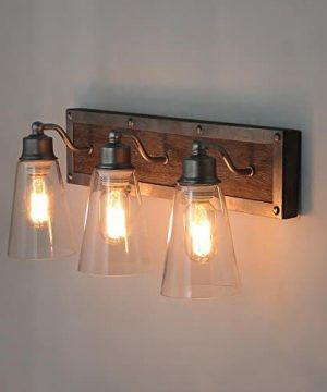 LOG BARN 3 Lights Rustic Vanity Light In Real Distressed Wood And Brushed Antique Silver Finish With Cone Clear Glass Shades 213 Bathroom Wall Sconce Lighting A03330 0 2 300x360