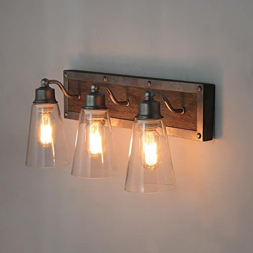 Log Barn 3 Lights Rustic Vanity Light In Real Distressed Wood And Brushed Antique Silver Finish With Cone Clear Glass Farmhouse Goals