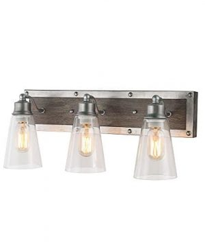 LOG BARN 3 Lights Rustic Vanity Light In Real Distressed Wood And Brushed Antique Silver Finish With Cone Clear Glass Shades 213 Bathroom Wall Sconce Lighting A03330 0 300x360
