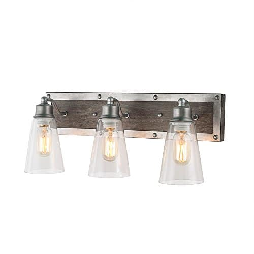LOG BARN 3 Lights Rustic Vanity Light In Real Distressed Wood And Brushed Antique Silver Finish With Cone Clear Glass Shades 213 Bathroom Wall Sconce Lighting A03330 0
