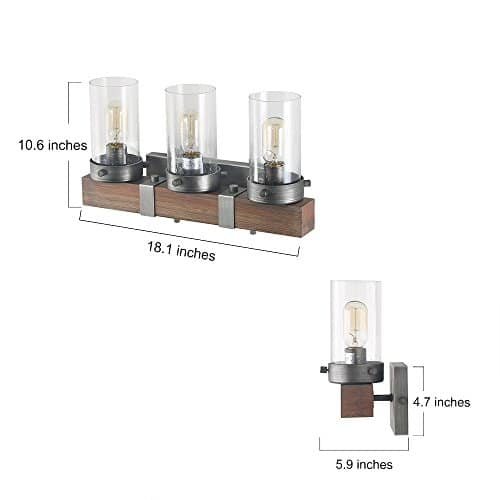 LOG BARN 3 Lights Rustic Wall Lighting In Real Distressed Wood And Brushed Antique Silver Finish With Cylindrical Bubbled Glass Shades 181 Bathroom Light A03345 0 1