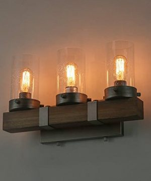 LOG BARN Farmhouse Rustic Bathroom Vanity Light, Wall Light Fixture 3  Lights in Wood and Cylindrical Bubbled Glass