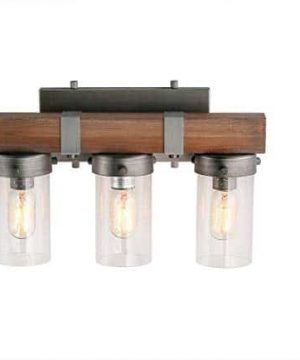 LOG BARN 3 Lights Rustic Wall Lighting In Real Distressed Wood And Brushed Antique Silver Finish With Cylindrical Bubbled Glass Shades 181 Bathroom Light A03345 0 300x360