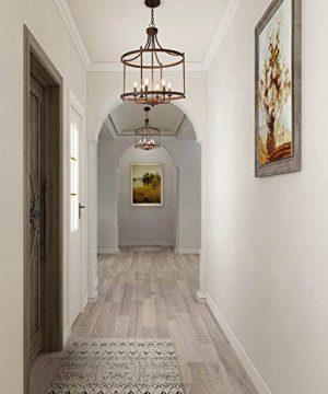 LOG BARN 6 Lights Transitional Island Pendant Drum Lightening Chandelier In Antique Brass Finish 216 Foyer Light Fixture A03252 0 4 300x360