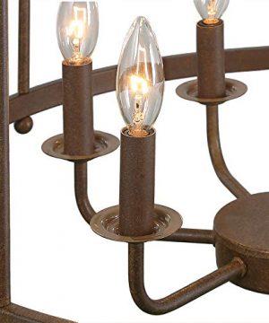 LOG BARN 6 Lights Transitional Island Pendant Drum Lightening Chandelier In Antique Brass Finish 216 Foyer Light Fixture A03252 0 5 300x360