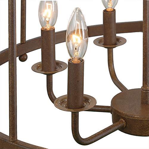 LOG BARN 6 Lights Transitional Island Pendant Drum Lightening Chandelier In Antique Brass Finish 216 Foyer Light Fixture A03252 0 5