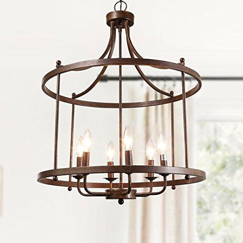 LOG BARN 6 Lights Transitional Island Pendant Drum Lightening Chandelier In Antique Brass Finish 216 Foyer Light Fixture A03252 0