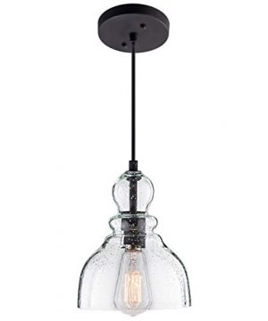 Lanros Industrial Mini Pendant Lighting With Handblown Clear Seeded Glass Shade Adjustable Edison Farmhouse Kitchen Lamp For Kitchen Island Restaurants Hotels And Shops 1 Pack 0 300x360