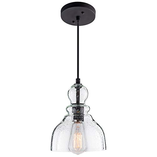 Lanros Mini Pendant Lighting With Handn Clear Seeded Gl Shade Adjule Cord Farmhouse Lamp Ceiling Light Fixture For