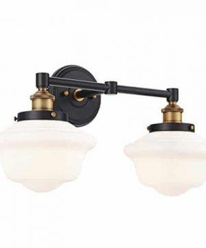 Lavagna 2 Light Bathroom Vanity Black With Milk Glass Linea Di Liara LL WL272 MILK AB 0 0 300x360