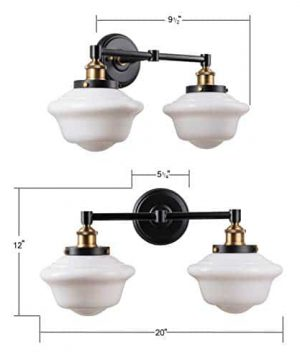Lavagna 2 Light Bathroom Vanity Black With Milk Glass Linea Di Liara LL WL272 MILK AB 0 1 300x360