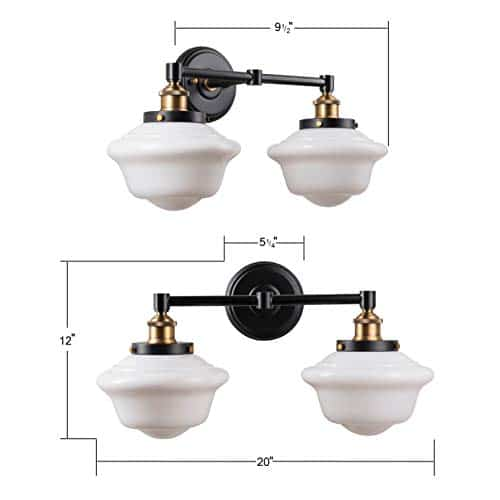 Lavagna 2 Light Bathroom Vanity Black With Milk Glass Linea Di Liara LL WL272 MILK AB 0 1
