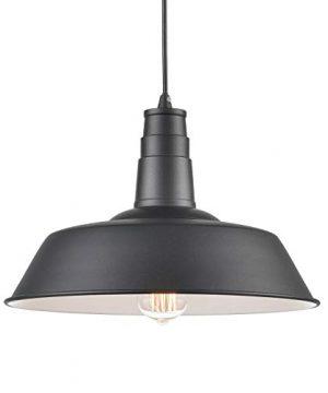 Light Society Kress Pendant Light Matte Black Shade With White Interior Vintage Modern Industrial Farmhouse Lighting Fixture LS C199 BLK 0 300x360