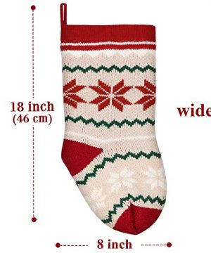 LimBridge 2 Pack 18 Large Size Snowflake Stripe Knit Knitted Christmas Stockings Xmas Rustic Personalized Stocking Decorations For Family Holiday Season Decor WhiteRedGreen 0 0 300x360