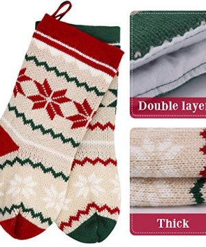 LimBridge 2 Pack 18 Large Size Snowflake Stripe Knit Knitted Christmas Stockings Xmas Rustic Personalized Stocking Decorations For Family Holiday Season Decor WhiteRedGreen 0 1 300x360