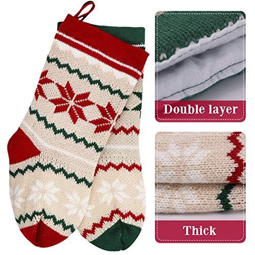LimBridge 2 Pack 18 Large Size Snowflake Stripe Knit Knitted Christmas Stockings Xmas Rustic Personalized Stocking Decorations For Family Holiday Season Decor WhiteRedGreen 0 1